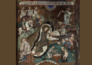 Dark colors; Mary and babe in center; Joseph off to one side, looking away; wise men riding in; angels above them; figures disjointed and flat.