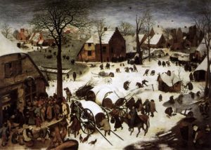 A small 1560s Dutch village in winter. Mary rides a donkey towards a crowded shack.