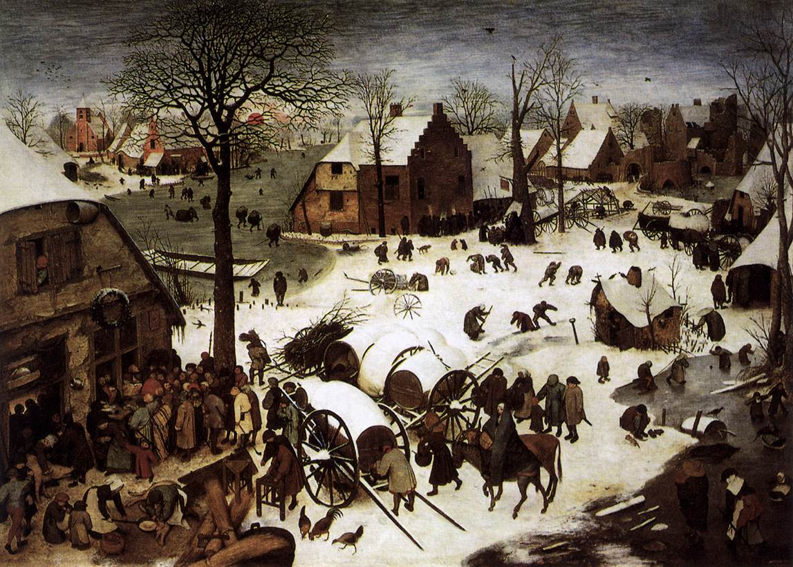 Sample Christmas Card: Art History Cards - The Nativity set in 1500s Netherlands (by Pieter Bruegel the Elder)