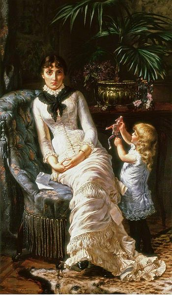 Victorian era lady looks upset on plush chair next to an open letter with a young girl off to one side trying in vain to get her attention.