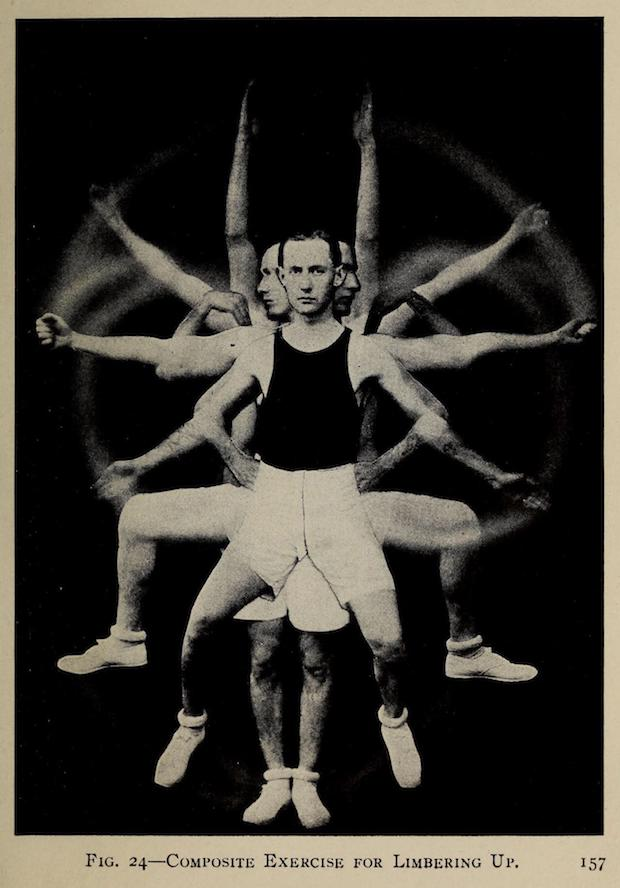 An athletic 1917 business man with black tank top, white knee-length shorts, white tennis shoes, and dark hair neatly parted and just beginning to receded. A composite pose of him exercising. In this case moving in all directions like a Hindu God. Face very serious and straight-ahead. This businessman means business!
