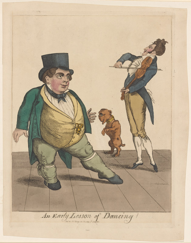 A drawing of a short fat man dancing, a dog on hind legs also dancing, and a tall thin man fiddling. Both men are in tailed and waistcoated suits and tophats a la 1800s.