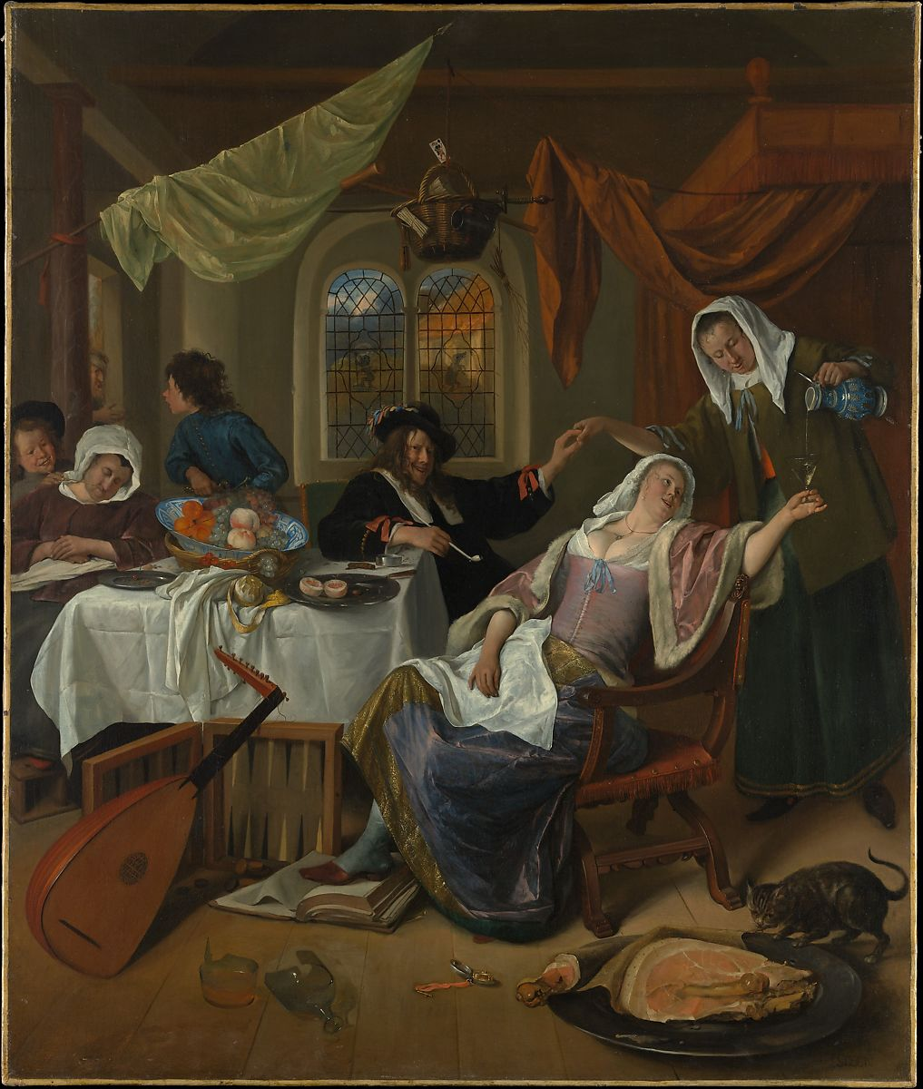 A painting of a dissolute 1600s Dutch household. Drinking, smoking, raucous evil-eyed laughter.