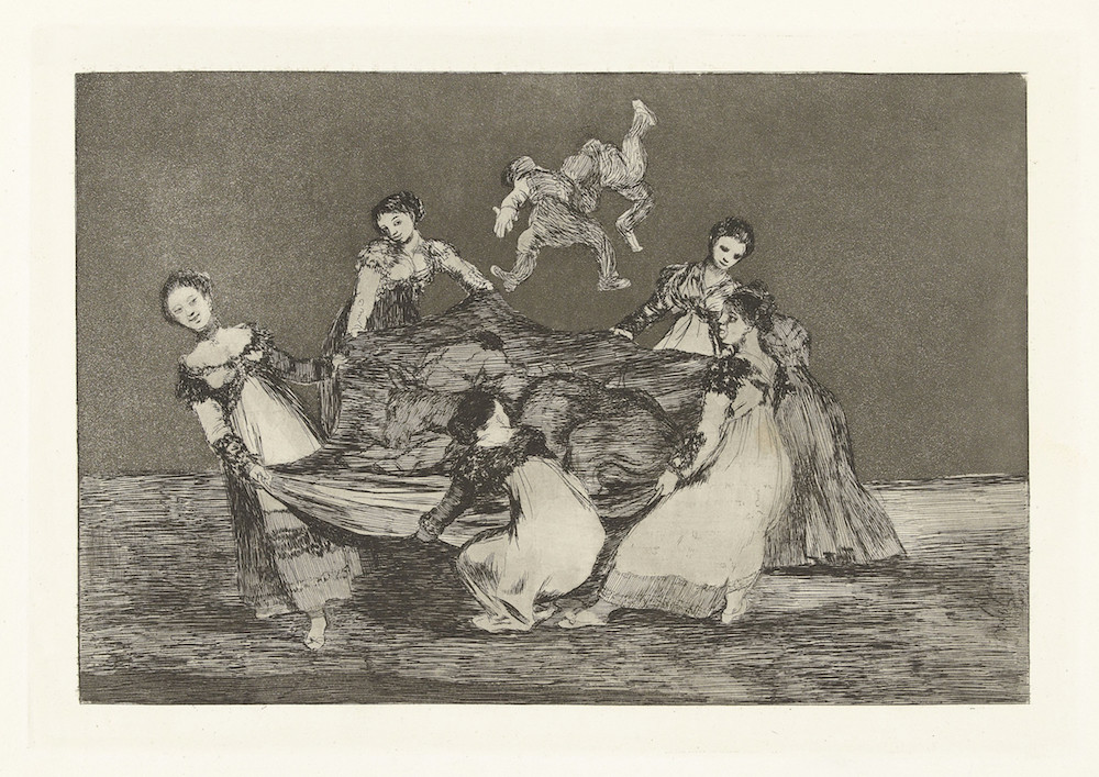 A sketch of women tossing people up in the air with a big tarp.