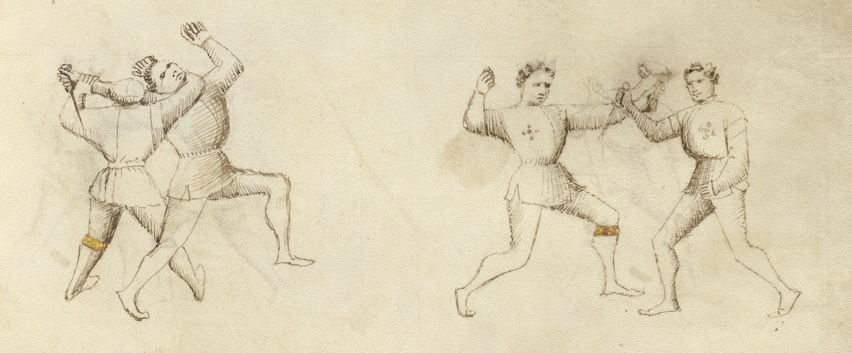 On this old yellow parchment sketched men with round limbs demonstrate swordplay.