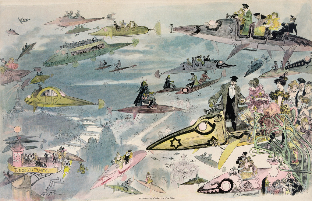 Cartoon of an evening sky full of sub-shaped open-seated flying machines that must somehow float and that seem to propel themselves forward with little fan-like feet attached to four stick-like legs. In the foreground a well-dressed chauffeur, a thick gray coat over his tux, helps ladies in elegant evening gowns from a roof-top platform into his flying coach. They're going to the opera!