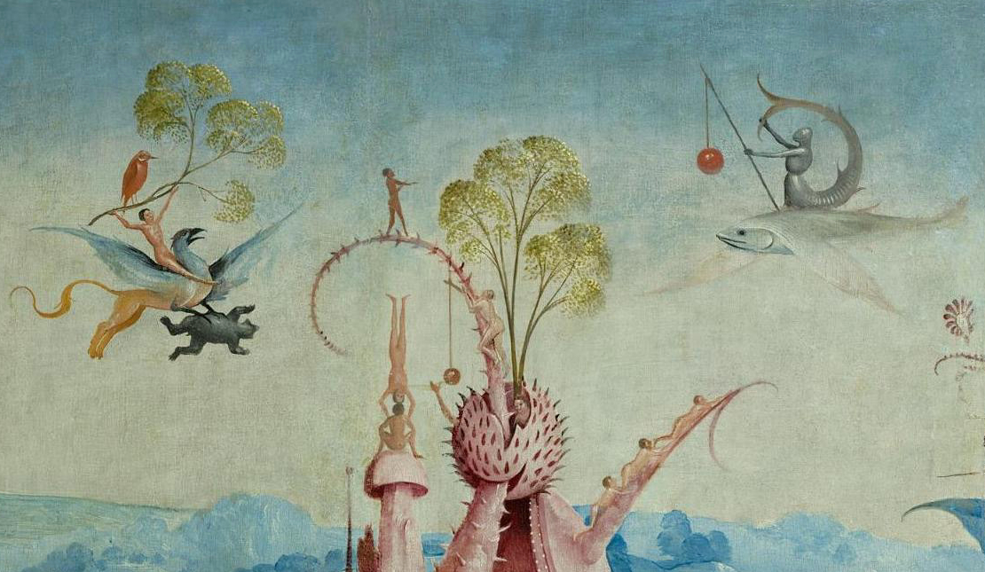 A strange painting. A nude man flying on a sharp-beaked bird with horse's hind legs. Another dressed as a knight but with a mermaid tail flying on flat-winged fish. Some naked people climbing up a pink, tendril-like branch. You have to see it.