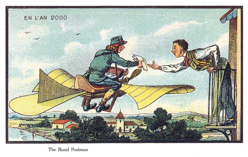 Cartoon of a man leaning over his small balcony high over the town, reaching out for a rolled parchment hand-delivered by a postman flying on a bike outfitted with butterfly-like wings of a soft but durable yellow fabric.
