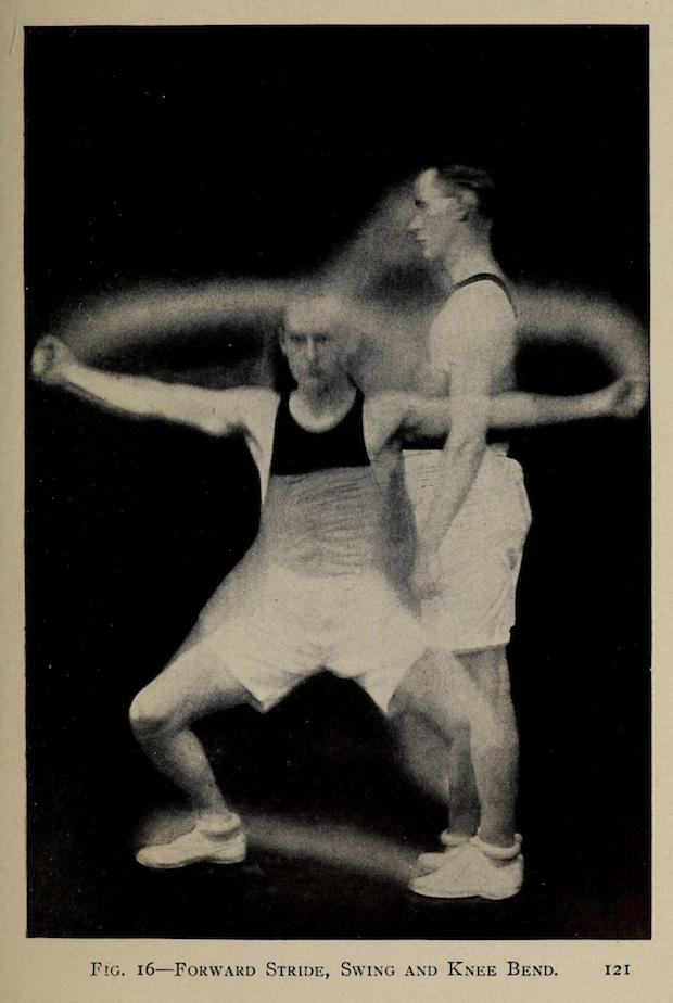 An athletic 1917 business man with black tank top, white knee-length shorts, white tennis shoes, and dark hair neatly parted and just beginning to receded. A composite pose of him exercising. In this case lunging side to side. Face very serious and straight-ahead. This businessman means business!